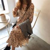 洋裝2019春秋新款流行復古女裝山本碎花雪紡裙子很仙的法國小眾洋裝滿天星