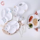 創意貓咪兒童陶瓷餐盤可愛卡通分格盤子寶寶飯盤餐具家用早餐盤 居享優品