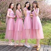 伴娘洋裝 新款豆沙色伴娘禮服顯瘦姐妹團畢業禮服裙夏季姐妹伴娘服 QQ5479『東京衣社』