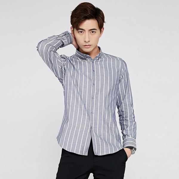 灰色/M碼 男條紋襯衫 春季條紋男長袖修身免燙商務休閒寸衫韓版襯衣男襯衫C0478