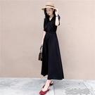 雪紡黑色v領連衣裙女2021新款夏收腰顯瘦休閒氣質遮肚子法式長裙快速出貨