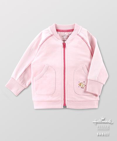 Hallmark Babies 春夏棉質長袖女嬰夾克棒球外套 HE1-B01-08-BG-MR
