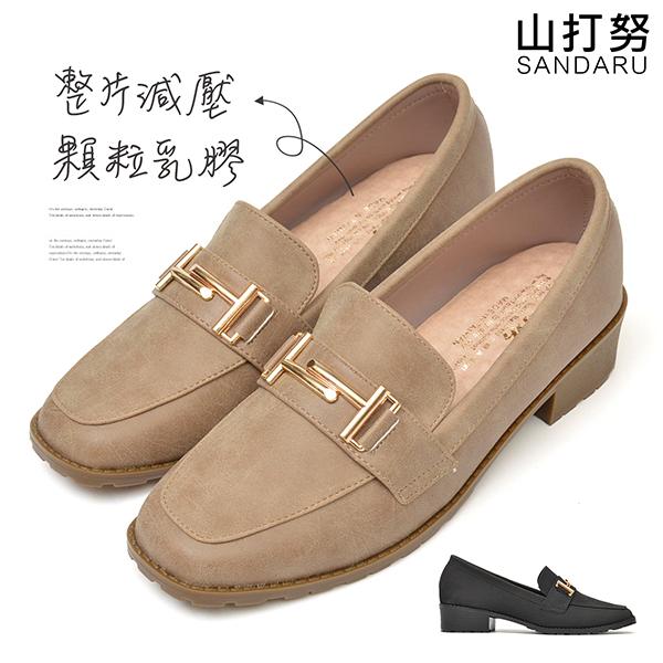 樂福鞋 金屬釦方頭軟底低跟鞋