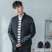 MA-1皮革拼接保暖外套【HK3216】OBIYUAN 韓版軍風立領鋪棉外套 共1色