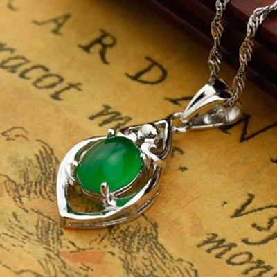 項鍊+925純銀綠玉髓吊墜-精緻創意生日情人節禮物女飾品73di12【時尚巴黎】