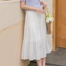 蛋糕裙 高腰a字白色半身裙女夏中長款夏季長款垂感蛋糕a型白裙子-Ballet朵朵