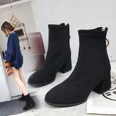 粗跟短靴女 新款高跟鞋秋冬踝靴馬丁靴高跟中筒靴子百搭瘦瘦靴 免運
