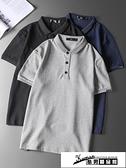 短袖Polo衫 polo衫男夏季男裝保羅衫男士有帶領純色短袖t恤純棉翻領上衣潮牌 酷男