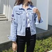 韓版刺繡翻領網紅短外套S-2XL牛仔夾克上衣開衫春秋新款修身港風百搭長袖上衣女F139快時尚