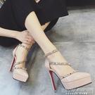 2020歐美百搭網紅中空涼鞋超高跟細跟淺口鉚釘包跟防水台性感單鞋『新佰數位屋』