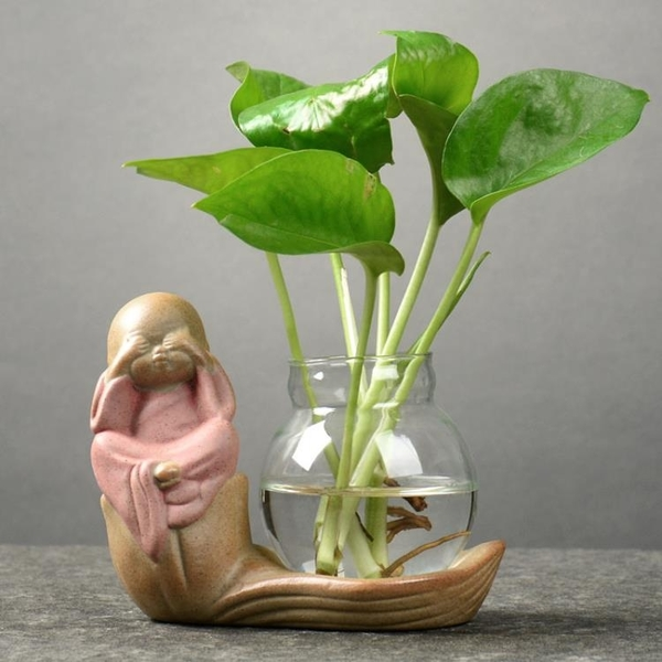 創意綠蘿水培植物透明玻璃小花瓶家用客廳裝飾品水養插花器皿擺件