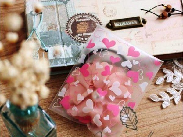 餅乾袋 20枚一包售 亂版愛心  8*10cm  精美餅干小物包裝袋 想購了超級小物