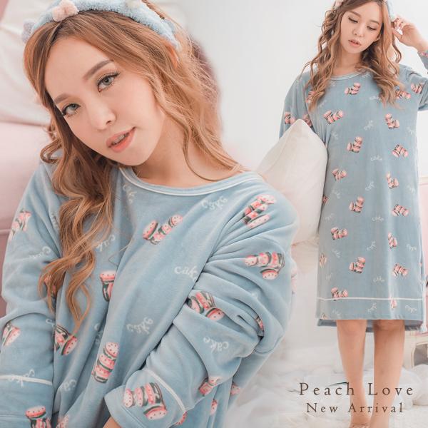 秋冬睡衣 Cake蛋糕睡衣-睡裙(藍)-保暖、居家服_蜜桃洋房