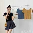 針織短袖 夏季年新款韓版短袖針織衫純色黑色打底衫方領修身短款毛衣女 生活主義