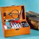實木家用針線盒套裝多功能多色手縫粗線百寶箱手工針線包收納高檔 亞斯藍