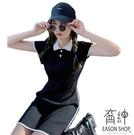EASON SHOP(GW7327)韓版撞色拼接線條坑條紋薄款前排釦翻領POLO衫裙短袖針織連身裙洋裝女包臀裙短裙