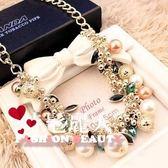 彩色寶石珍珠水晶項鏈夸張鎖骨鏈飾品項鏈女配飾項鏈  全店88折特惠
