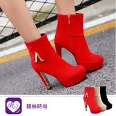 韓系必備單品時尚配件素面圓頭高跟鞋/3色/35-43碼 (RX1298-11-9) iRurus 路絲時尚