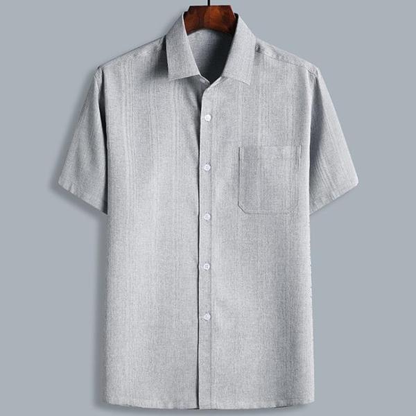 夏季中老年爸爸襯衫男士爺爺棉麻短袖中國風襯衣薄款寬鬆老人衣服 幸福第一站