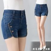 高腰牛仔短褲女2020夏季新款顯瘦緊身百搭刺繡休閒彈力修身熱褲 雙十一全館免運