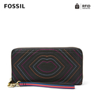 FOSSIL LOGAN 多層真皮RFID拉鍊長夾-黑色嘴唇 SL6327001