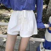 腰系帶白色闊腿休閒短褲女高腰熱褲