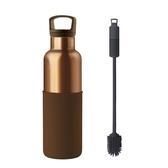 HYDY 摩卡-古銅金瓶 時尚保溫水瓶 590ml + 刷具