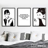 現代簡約奧黛麗赫本黑白裝飾畫臥室床頭掛畫客廳墻壁畫        瑪奇哈朵