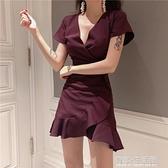 年夏季新款韓版百搭純色氣質V領收腰顯瘦不規則荷葉邊洋裝 有緣生活館