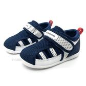 《7+1童鞋》小童 日本 MOONSTAR 月星 透氣 魔鬼氈 機能涼鞋 D455 藍色