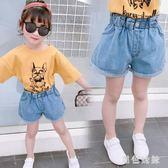 女童短褲夏季2019新款潮兒童洋氣破洞牛仔褲外穿女孩百搭 aj12555『黑色妹妹』