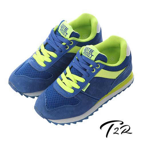 【韓國T2R】玩色新時尚運動休閒增高鞋 ↑8cm 藍螢光綠(5600-0130)