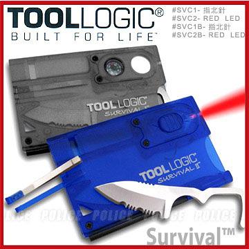 TOOL LOGIC Survival Card求生卡(藍色-超亮紅色LED燈)#SVC2B-T【AH23006】i-style居家生活