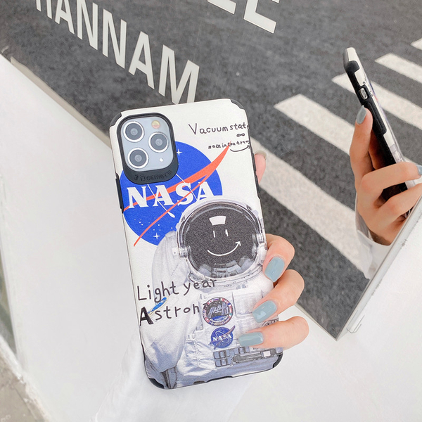 (附掛繩)OPPO A31 A91 A3 R17 Realme XT A5 A9 2020 Reno2 Z 創意NASA太空人 浮雕蠶絲紋防摔殼 手機殼