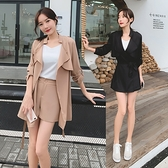 西裝套裝~新款韓版五分袖薄款顯瘦西裝風衣 短褲 兩件套套裝N511-A韓依紡