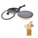 (組)可拆式陶瓷不沾導磁煎炒鍋5件組-白+天然櫸木料理配件五件組