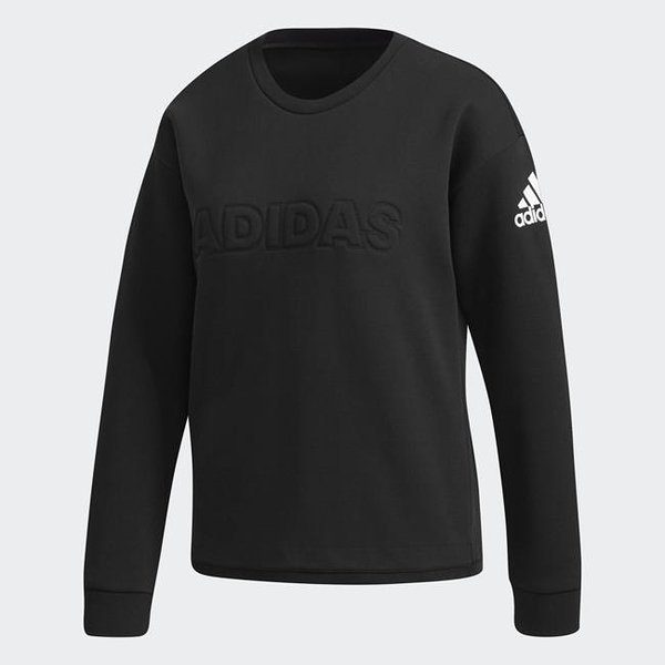 Adidas ID CREW W 女款立體字黑色上衣-NO.DT2391