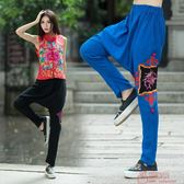 民族風女復古棉麻長褲刺繡哈倫褲胯襠大尺碼寬鬆休閒褲子
