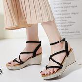 韓版羅馬涼鞋 細帶鞋坡跟厚底鞋 舒適休閒鞋《小師妹》sm1980