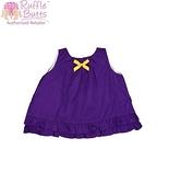 美國RuffleButts Grape w / Yellow Swing Top 葡萄紫(黃蝴蝶結)荷葉裙擺露背上衣