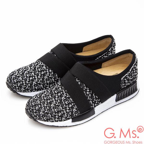 G.Ms. MIT系列-雪花綿織鬆緊帶懶人休閒鞋*椰黑