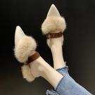 秋季新款外穿尖頭包頭毛毛拖鞋女冬時尚平底一腳蹬懶人鞋