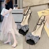 涼鞋 新款 夏季 亮片蝴蝶結時尚粗跟中跟 涼鞋女仙女風小ck鞋潮 超值價
