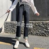 牛仔褲女直筒寬鬆年秋新款毛邊九分高腰顯瘦捲邊褲 【全館免運】
