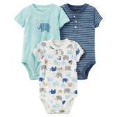 Carter's平行輸入童裝 男寶寶 短袖純棉前扣式包屁衣 白大象【CA127G892】