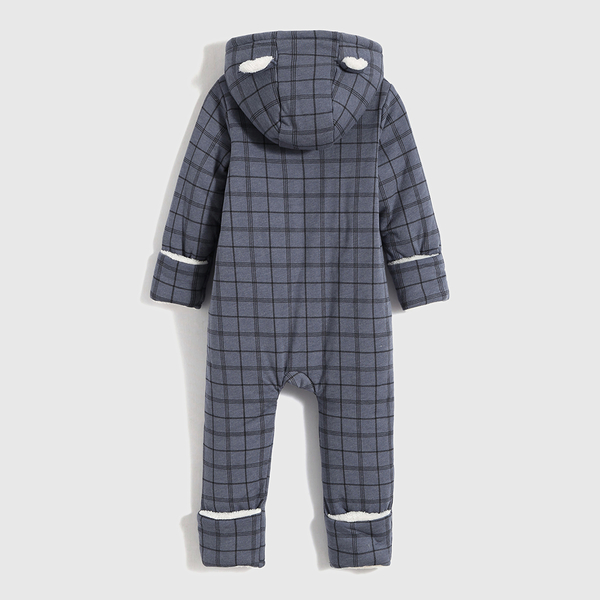 Gap嬰兒 加絨熊耳連帽連身衣外套 739944-藍色格子