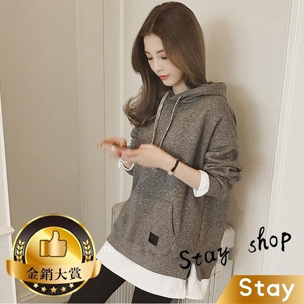 【Stay】韓版寬鬆中長款連帽內刷毛 大學T 假兩件式上衣 長袖上衣 長袖帽T 女裝 衣服【W41】