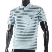 LONGCHAMP 經典純棉雙條紋短袖POLO衫(水藍/綠)179240-4