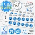 【KINYO】6呎1.8M 3P6開6插安全延長線(CW366-6)3入