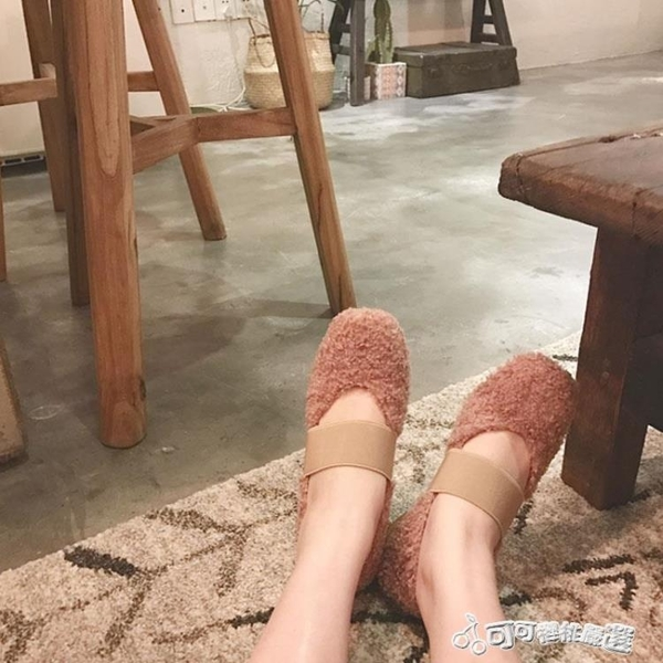 毛絨鞋 2018秋冬方頭捲毛毛鞋女單鞋低跟加絨保暖復古粗跟淺口瑪麗珍鞋女 Cocoa
